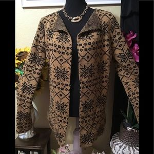 NWT H&M Camel:Black Open Front Cardigan Sweater XL